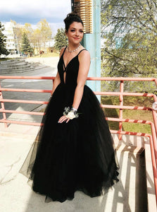 Black Prom Dresses Deep V-Neck A Line Cheap Formal Party Evening Gowns PO166