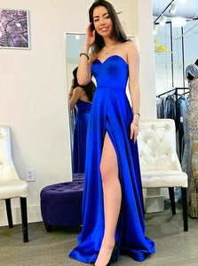Simple Royal Blue Long Prom Dresses, Satin Sweetheart Evening Dress With Split PO425