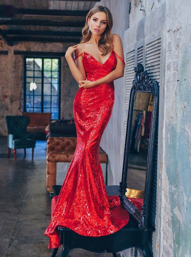 Spaghetti-straps Mermaid Sequin Red Long Prom Evening Dresses PO076