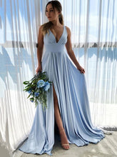 Simple V-neck Blue Long Prom Dress, Blue Bridesmaid Dress With Split OP890