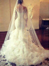 Trumpet/Mermaid Lace Long Sleeves Layers Tulle Wedding Dresses OW160