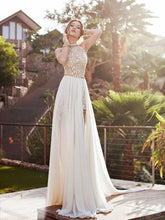 A-Line Halter Sleeveless Lace Chiffon Sweep Train Long Prom Dresses, OP101