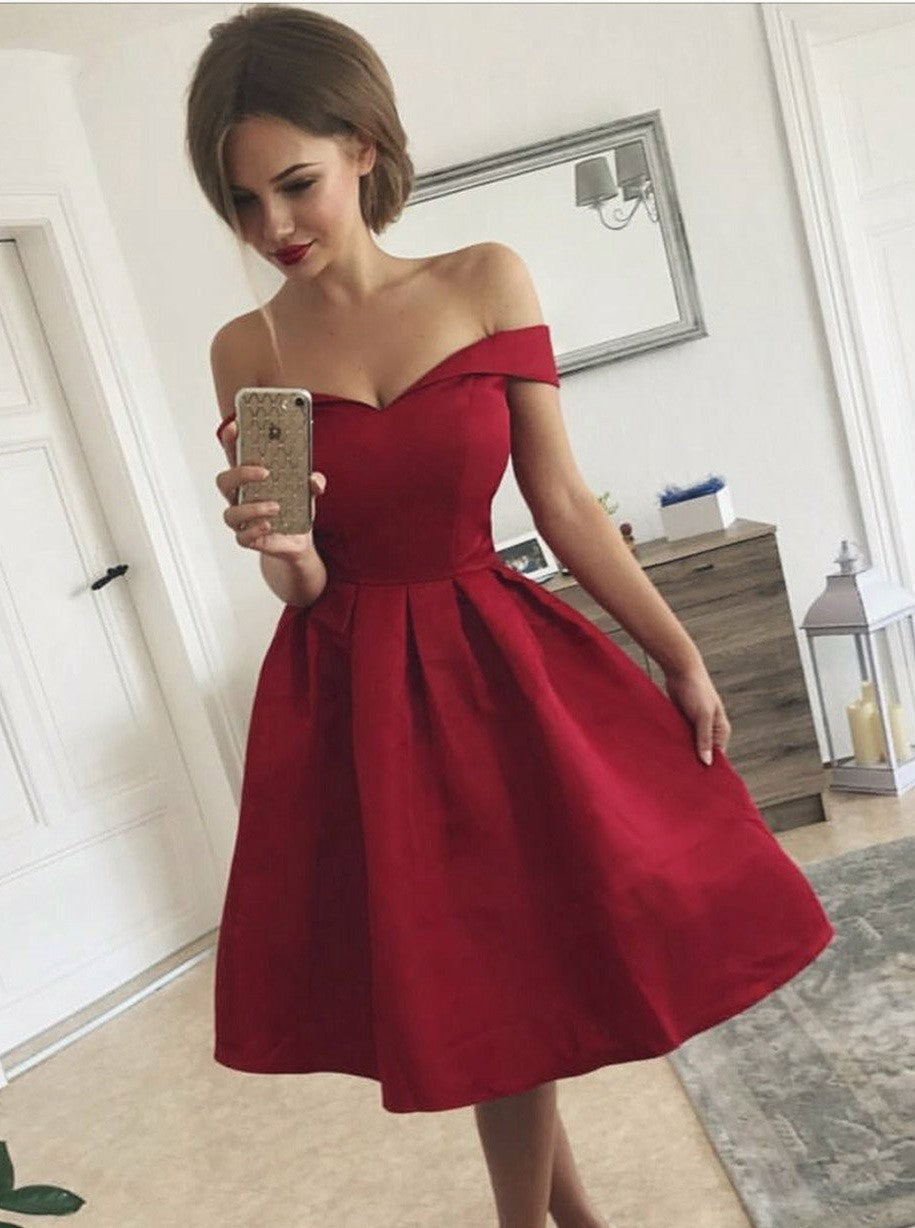 Elegant Off-the-Shoulder Pleated Red Satin Short Prom Dress, OP169