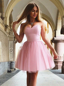 Cute Pink A-Line Sweetheart Short Tulle Homecoming Party Dress, OP173