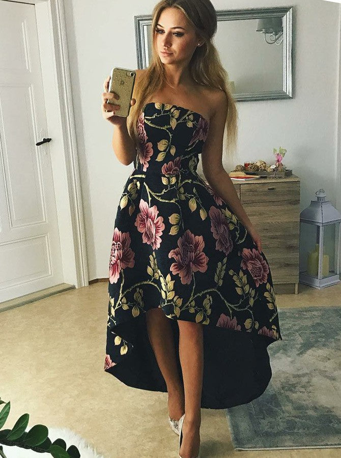 Strapless High-Low Floral Print Black Satin Prom Dress, OP171