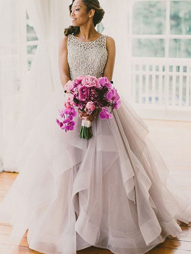 Sleeveless Scoop Sweep/Brush Train Organza Ball Gown Wedding Dresses OW164