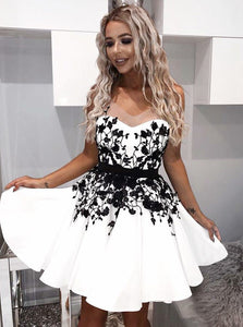 Charming A-Line Black Appliques White Satin Short Prom Dress, OC144