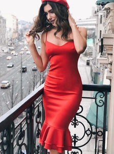 Sexy Spaghetti Straps Red Satin Party Bodycon Dress with Ruffles, OP166