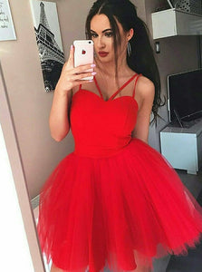 Red Spaghetti Strap Pleats Dress, A-Line Short Tulle Prom Party Dress