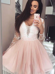 Long Sleeves Lace Appliques Tulle Plunge Neck Short Prom Dress, OP141