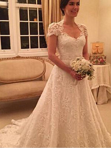 A-Line Short Sleeves Sweetheart Princess Lace Wedding Dresses OW163