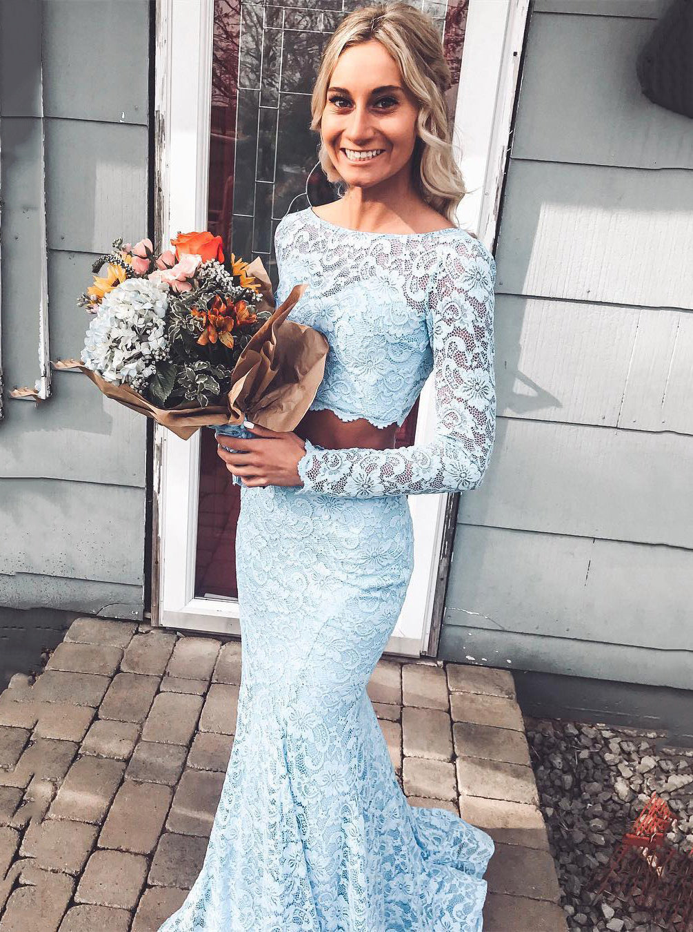 Mermaid Sky Blue Lace Prom Dress Two Piece with Long Sleeves OP834