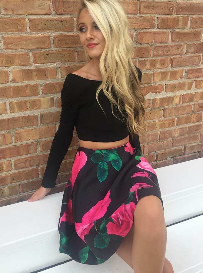 Black Two Piece Long Sleeves Round Neck Floral Print Satin Open Back Short Prom Party Dress, OC149