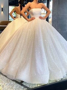Glitter Strapless Ball Gown Wedding Dresses Sparkly Bridal Gown OW673
