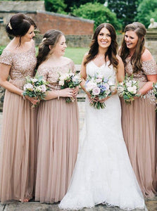 A-Line Off-the-Shoulder Tulle Blush Sequins Bridesmaid Dresses OB370