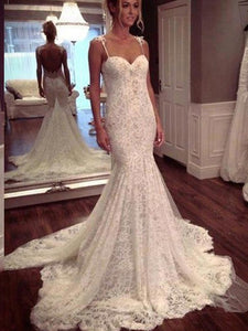 Spaghetti Straps Trumpet/Mermaid Lace Wedding Dresses OW161
