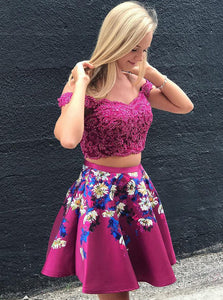 Two Piece Off Shoulder Lace Applique Short Prom Dresses Floral Print Homecoming Dresses OM308