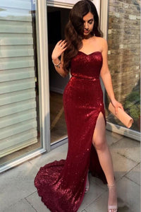Sparkly Sweetheart Burgundy Mermaid Sequins Prom Dresses With Slit OP850