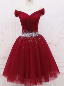 Off Shoulder Burgundy Short Graduation Dresses, Homecoming Dress With Beading OM446