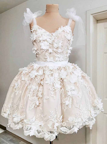 Cute A-line Straps Tulle Short Prom Dress, Homecoming Dress With Appliques OM386