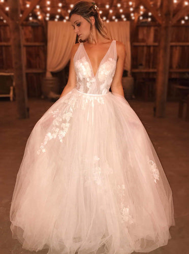 A-line V-neck Boho Wedding Dresses Applique Tulle Bridal Gown OW654