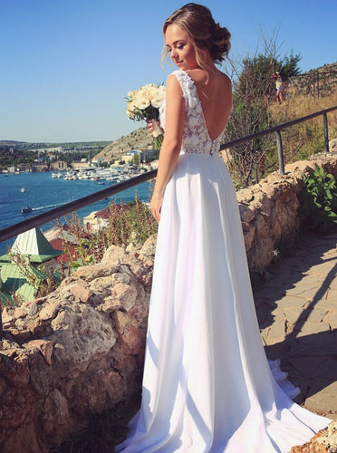 White A-line V-neck Chiffon Beach Wedding Dresses With Appliques OW593