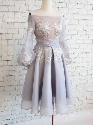 Off-Shoulder Chiffon Short Prom Dresses Long Sleeves Appliques Homecoming Dress OM317