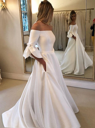 Princess Off Shoulder Flare Sleeves Vintage Wedding Dresses OW661