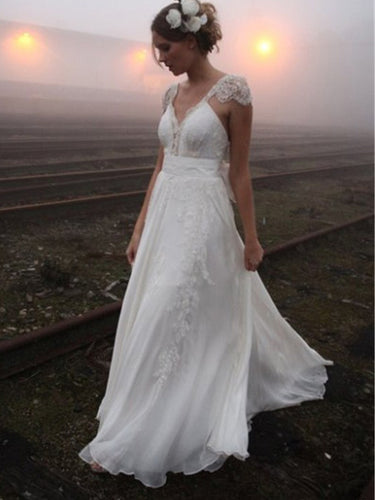 A-Line Lace Cap Sleeves V-neck Back Bowknot Princess Chiffon Wedding Dresses OW169