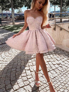 A-line Sweetheart Pink Homecoming Dresses Short Party Dresses OM527
