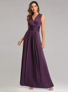 Simple Grape Long Prom Dresses V-neck Evening Dress E90803
