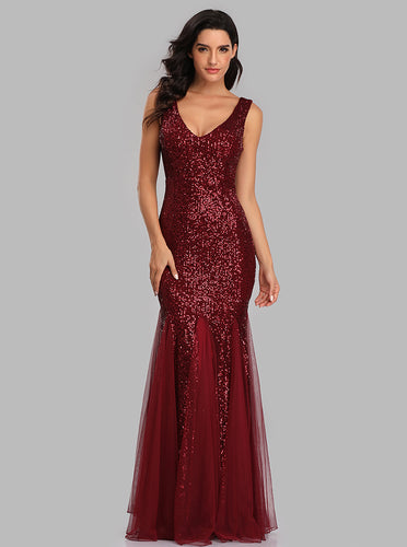 Mermaid Tulle Sequins Long Prom Dresses V-neck Evening Dress E90813