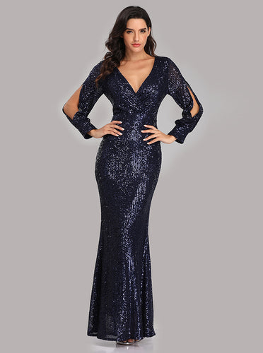 Mermaid Long Split Sleeve Sequined Trumpet Prom Evening Dress E90814