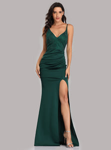 Mermaid V-neck Beaded Green Prom Dress, Sexy Evening Dress With Split E90815