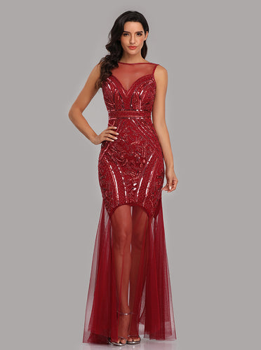 See-Through Bateau Burgundy Mermaid Prom Evening Dresses With Beading E90816