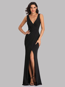 Simple V-neck Black Prom Dresses, Mermaid Evening Dresses With Split E90817
