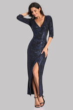 3/4 Sleeves Mermaid V-neck Pleated Split Sequins Evening Party Dress E90820