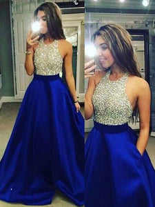 Royal Blue Halter Beaded A-line Sleeveless Satin Floor-Length Evening Dress, OP102