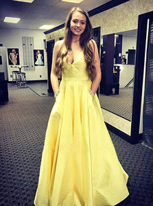 Spaghetti Straps V Neck Yellow Prom Dresses with Beaded Pockets PO031
