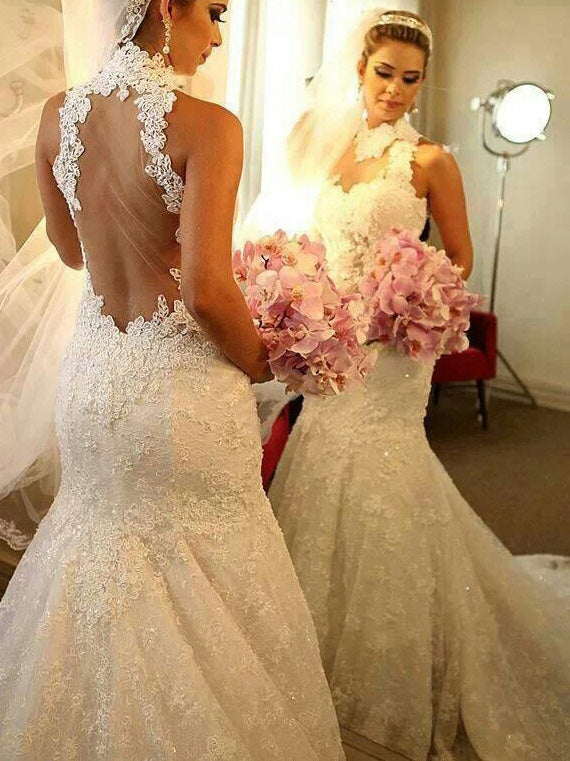 High Neck Trumpet/Mermaid Applique Court Train Lace Wedding Dresses OW172
