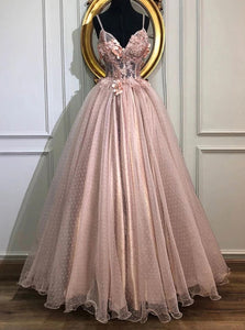 A-line V-Neck Tulle Long Prom Dresses, Pearl Pink Appliques Formal Evening Dress PO250