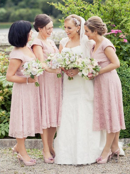 Cap Sleeves Deep V-Neck Tea-Length Pink Lace Bridesmaid Dresses OB374