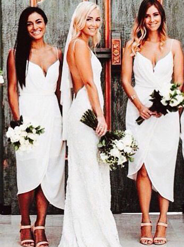 Sheath Spaghetti Straps Asymmetrical White Pleats Bridesmaid Dresses OB377