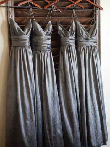 Spaghetti Straps V-neck Satin Long Grey Bridesmaid Dresses OB381