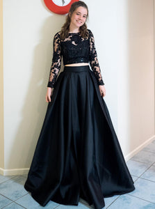 Black Long Prom Dresses Two Piece Formal Gowns With Long Sleeves PO158