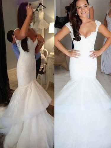 Mermaid Sleeveless Straps Organza Trumpet Open Back Wedding Dresses With Ruffles OW173