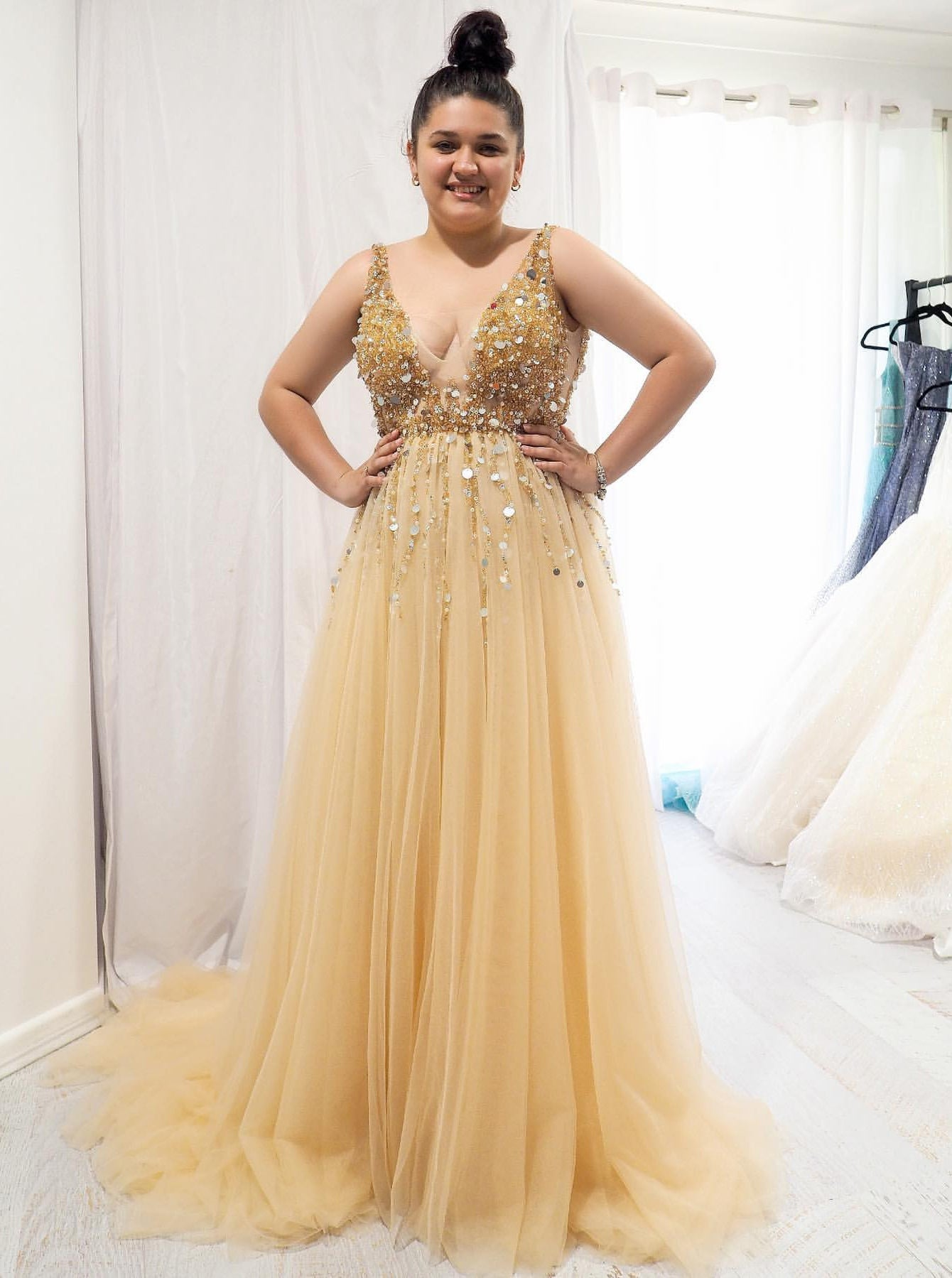 A Line V Neck Sequins Beaded Gold Long Prom Dresses Plus Size Evening Ombreprom Co Uk,Wedding Dresses In Texas