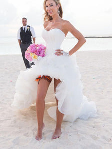 A-Line Sweetheart Asymmetrical Organza High Low Beach Wedding Dresses OW174