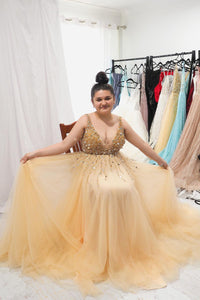 A-line V neck Sequins Beaded Gold Long Prom Dresses Plus Size Evening Gown PO188