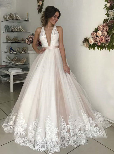 Deep V Neck Backless Wedding Dresses Lace Appliques Bridal Gown OW700